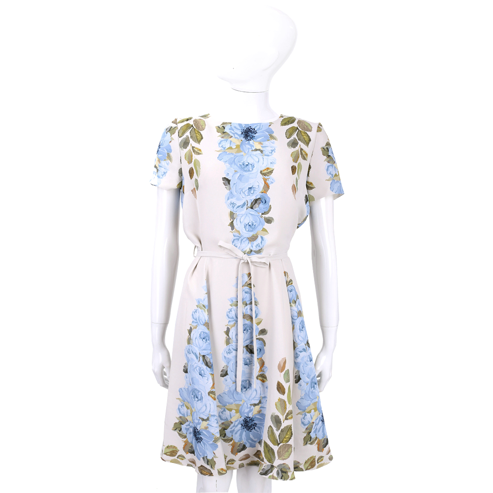 BLUGIRL 米色印花綁帶短袖洋裝