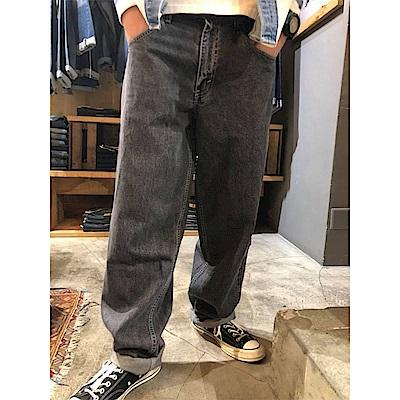 牛仔褲 男款 Baggy 復古寬褲 銀標Silver Tab系列 硬挺厚磅 黑色 - Levis