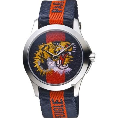 GUCCI 古馳 老虎刺繡帆布手錶~雙色 38mm