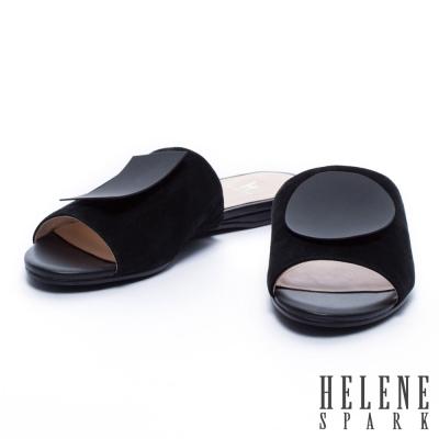 拖鞋 HELENE SPARK 毛面圓形方形一字麂皮平底拖鞋-黑