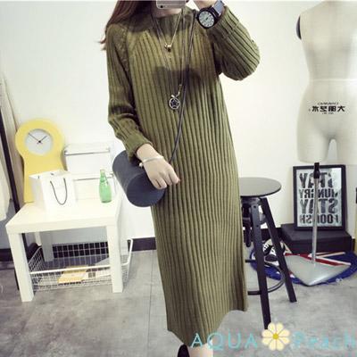 寬鬆純色坑條長版毛衣裙洋裝 (共二色)-AQUA Peach