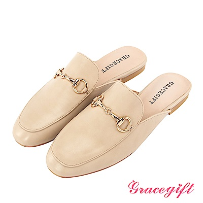 Grace gift-金屬馬銜釦樂福平底穆勒鞋 杏