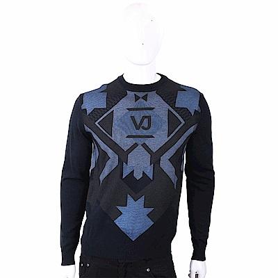 VERSACE 菱格幾何圖騰黑夜藍針織羊毛衫