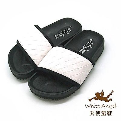 天使童鞋 個性時尚仿編織拖鞋(中-大童)J889 -白