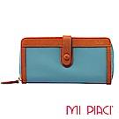 MI PIACI- Jet Set 系列-布配皮長錢夾-1086018-孔雀藍