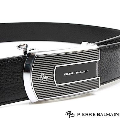 PB 皮爾帕門-都會設計橫紋款-頭層牛皮自動扣皮帶-855