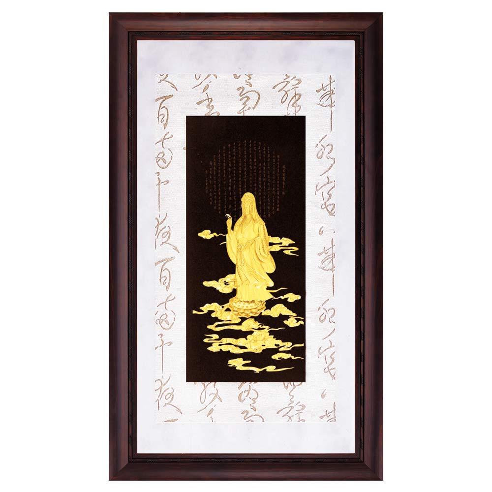 鹿港窯-立體金箔畫-觀音心經(彩金系列48x82cm)