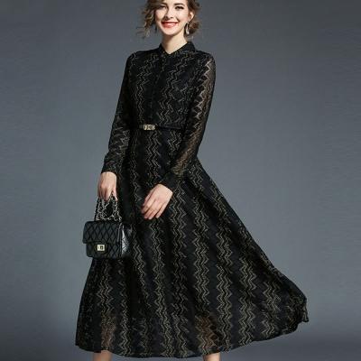 ABELLA 艾貝拉 鋸狀雙層金線排扣長袖附皮帶洋裝(M-2XL)