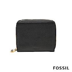 FOSSIL MINI WALLET 真皮多功能拉鍊皮夾 小夾-黑色
