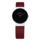 BERING 簡單無刻度系列 藍寶石鏡面 紅色皮革黑色小錶面26mm
