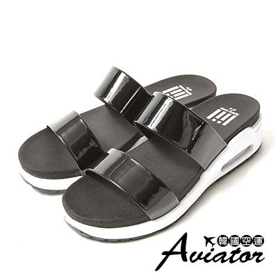 Aviator*韓國空運。漆皮感寬帶軟Q氣墊涼拖鞋-黑