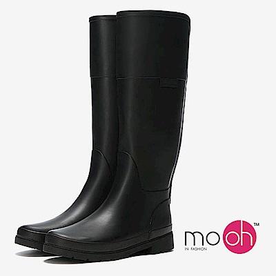 mo.oh-圓頭素面鬆緊帶長筒雨鞋-黑色