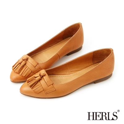 HERLS-全真皮復古流蘇樂福鞋-棕色