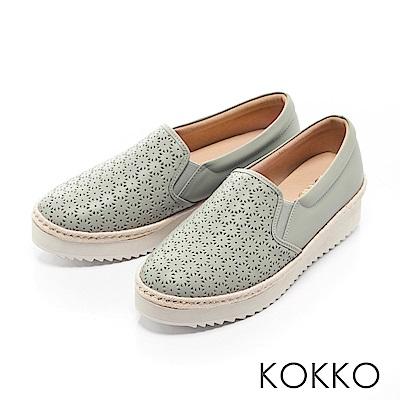KOKKO -繽紛年華雕花麻繩真皮休閒鞋-冰沙綠