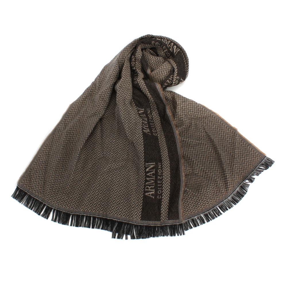 Giorgio Armani 雙色織紋羊毛圍巾-咖啡