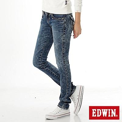EDWIN MISS拼接袋蓋窄直筒牛仔褲-女-重漂藍