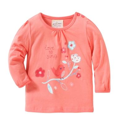 歐美風 女童 純棉長袖T恤-粉嫩花
