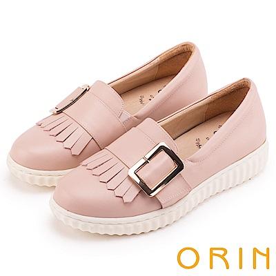 ORIN 復古學院風 流蘇皮帶方釦牛皮樂福平底鞋-粉紅