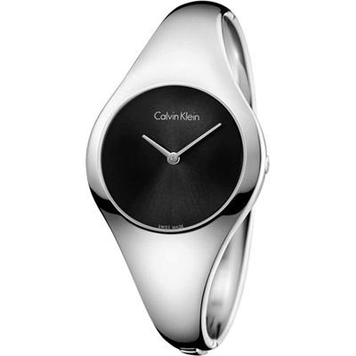 Calvin Klein Bare 裸愛曲線系列手環式腕錶-黑/34mm(S)