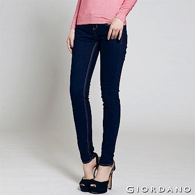 GIORDANO 女裝中低腰彈力修身窄管牛仔褲-50深藍