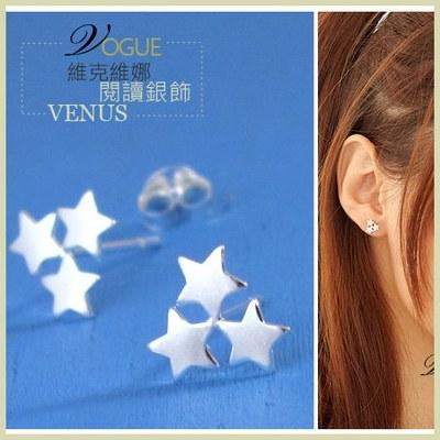 【維克維娜】星的祈願。三星星相伴貼耳 925純銀耳環