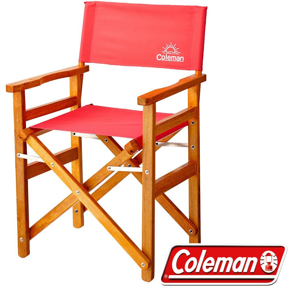 Coleman 27857_草莓紅 戶外露營經典木椅 公司貨野餐露營椅/中型椅