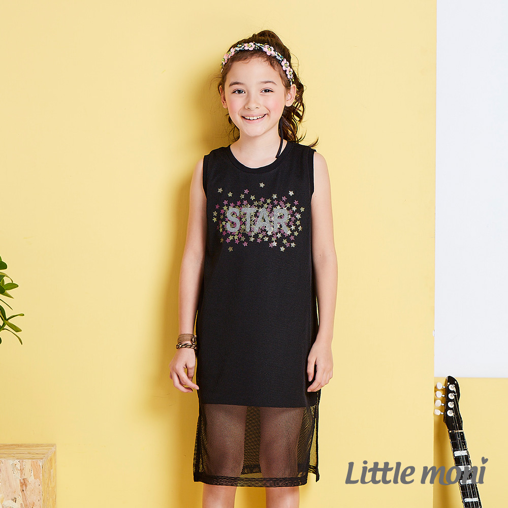 Little moni 夏日搖滾網紗假二件背心洋裝  黑色