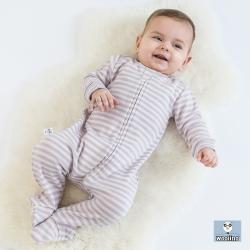 美國 Woolino 頂級羊毛包腳睡衣 (淡紫色條紋)