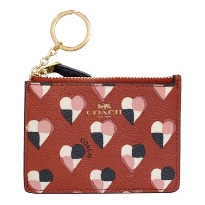 COACH紅色幾何拼接愛心圖紋後卡夾鑰匙零錢包