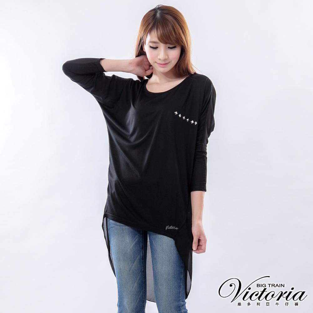 Victoria 浪漫後腰抓摺雪紡長T-女-黑色