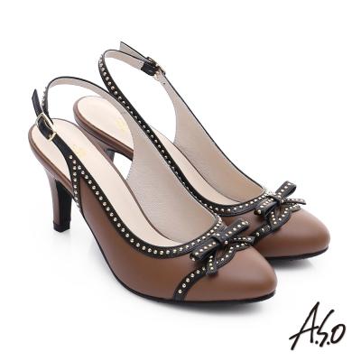 A.S.O 注目嬌點 真皮蝴蝶結鉚釘後空高跟鞋 茶色