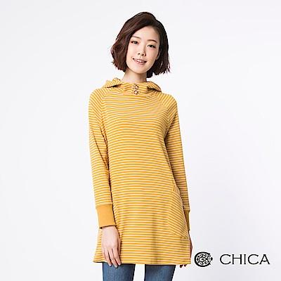 CHICA 俏皮甜心條紋雙口袋連帽設計上衣(2色)