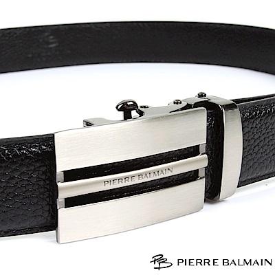PB 皮爾帕門-經典方切框中細橫Logo款-頭層牛皮自動扣皮帶-701-黑