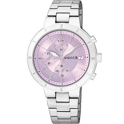 WICCA 漾動時尚俏麗腕錶-淡紫/34mm