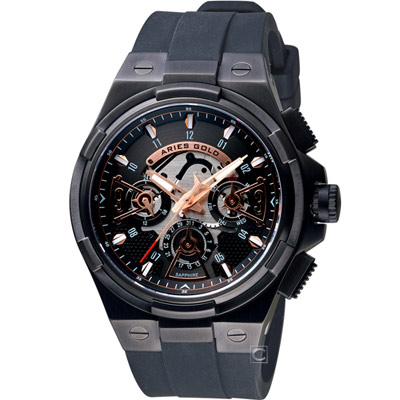Aries Gold雅力士 團結系列急速閃電腕錶-鍍黑/50mm @ Y!購物