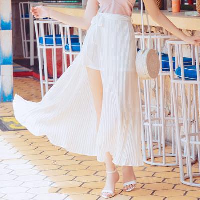 AIR SPACE CHIAO聯名前開叉綁帶百褶長裙(白)