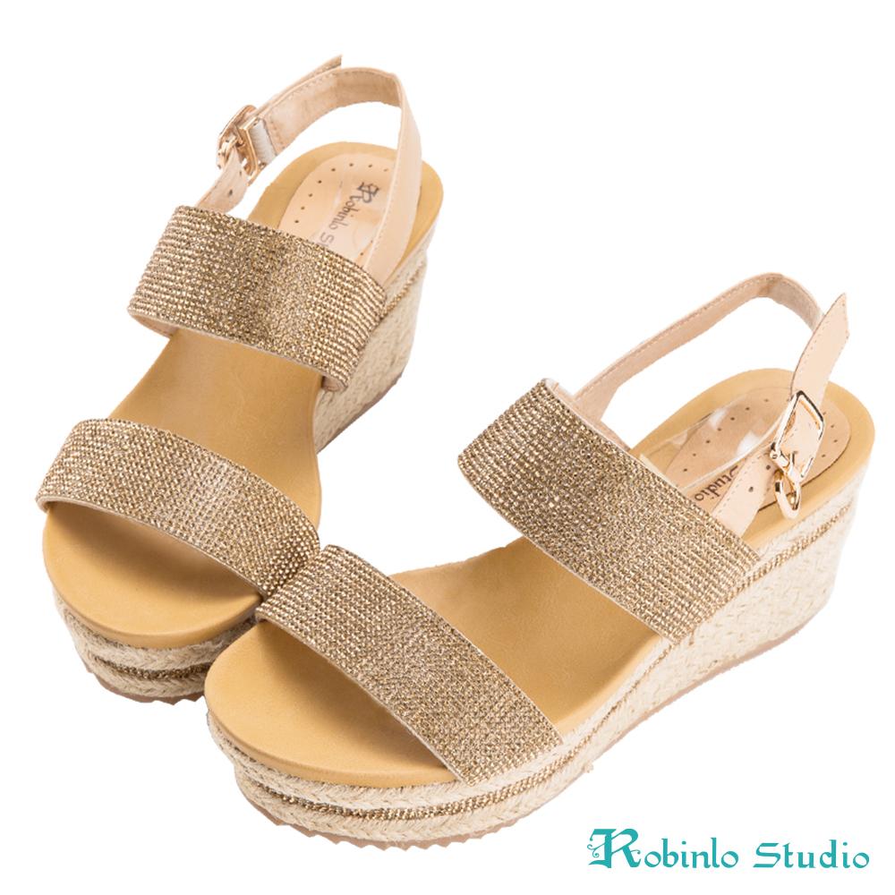 Robinlo Studio 精美燙鑽麻繩雙帶牛皮涼鞋 金色