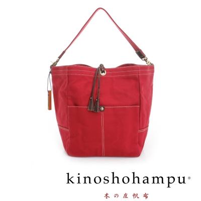 kinoshohampu 經典筒型束口帆布包 紅色