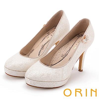 ORIN 晚宴婚嫁首選 夢幻蕾絲側邊水晶蝴蝶高跟鞋-粉膚