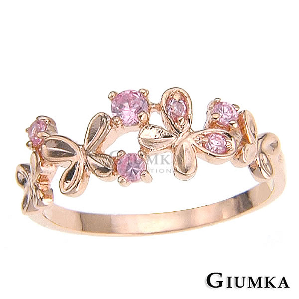 GIUMKA 花蝶戲舞戒指-玫金
