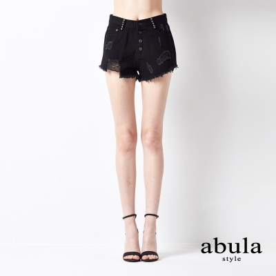 abula-style-中高腰設計時尚洗水短褲
