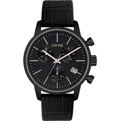 LOVME 城市獵人個性時尚手錶-IP黑/43mm