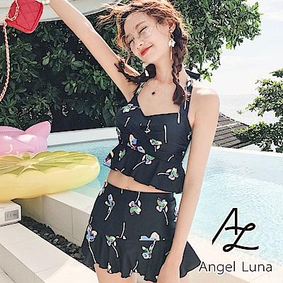 【AngelLuna日本泳裝】 黑色印花魚尾兩件式比基尼泳衣