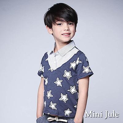 Mini Jule 童裝-上衣 框線星星拼接直紋假兩件上衣(寶藍)