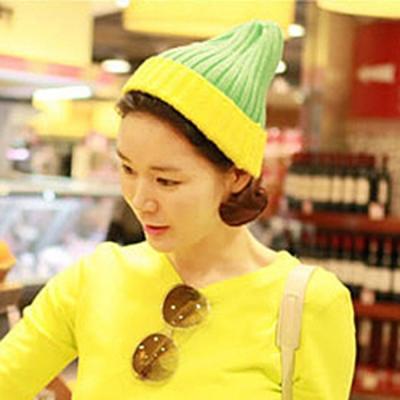 Aimee-Toff-雙色西瓜條紋暖暖毛帽-綠黃