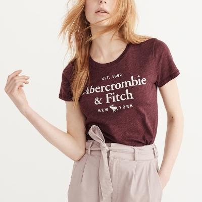 A&F 經典文字大麋鹿短袖T恤(女)-酒紅色 AF Abercrombie