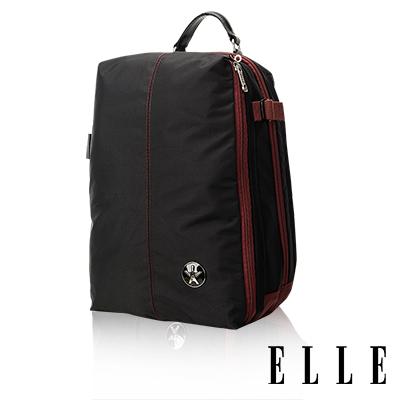 ELLE HOMME 時尚巴黎風格<b>12</b>吋筆電扣層休閒後背包 輕量防潑水設計款-黑