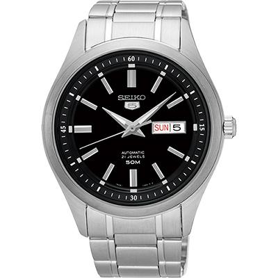 SEIKO 精工 5號盾牌日曆機械腕錶(SNKN89J1)-黑/42mm