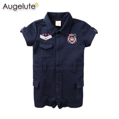 baby童衣-嬰兒連身衣-全開扣徽章翻領爬服-52254