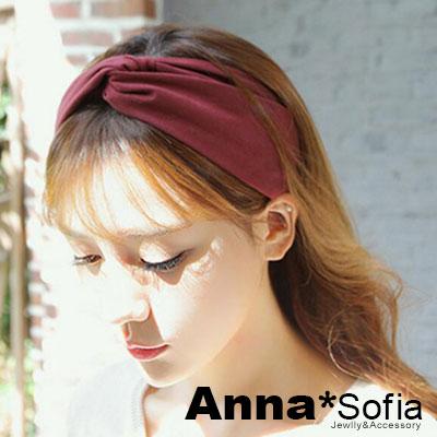【2件7折】AnnaSofia 麂皮絨交叉結 彈性寬髮帶(酒紅色)